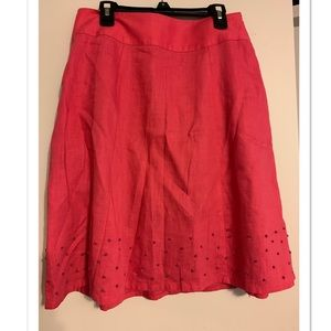 Boden Linen Pink Swiss Dot Skirt